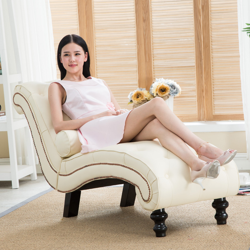 Leather Sleep Lounge with Pillow for Home Furniture Living Room Modern Lazy Lounger Chair for Bedroom Chaise Lounge Wood Leg