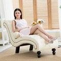 Salão Sono com Travesseiro para Móveis Para Casa Mobília da Sala de estar de couro Moderno Chaise Espreguiçadeira Preguiçoso Cadeira para o Quarto Salão de Madeira Perna