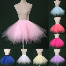 2019 Tulle Skirts Layers Women Adult Tutu Skirt Summer High Waist Flare Mini Puffy Pettiskirt Party Dance