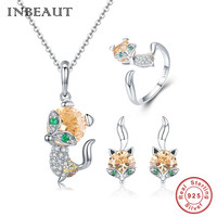 INBEAUT 100% Real 925 Sterling Silver Brown Cubic Zirconia Fox Stud Earrings Rings Animal Shaped Pendant Necklace Jewelry Sets
