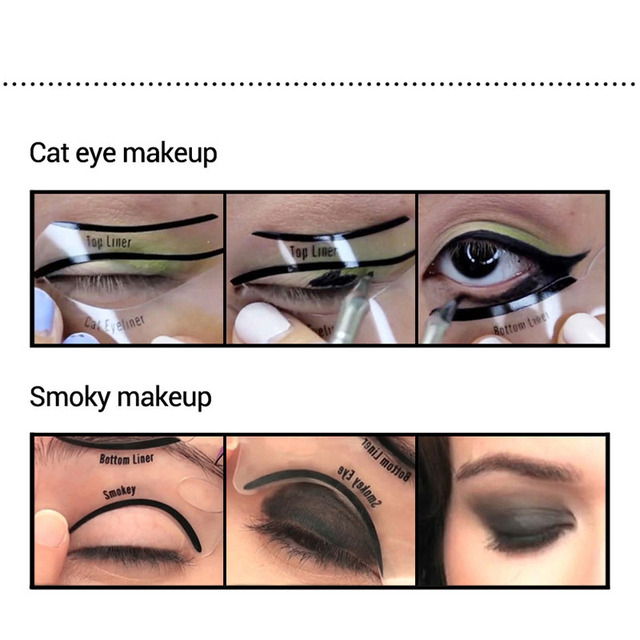 10pcs Eyeliner Stencil Cat Eye Fish Tail Double Wing Eyeliner Stencil Models Template Shaping Tools Eyebrows Template Card DIY 3