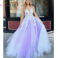 Tulle Evening Dress 2019 Purple And White Appliques Beading A-line V-neck Sweep Train Sleeveless Graceful Special Occasion Gown