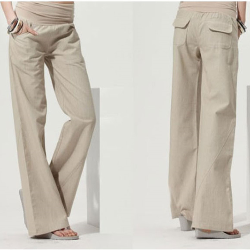 Lino pantalones de pierna ancha moda fluidos pantalones