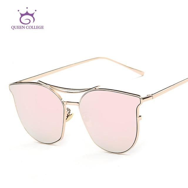 Rainha Colégio Estilo de Design Da Marca óculos de Sol Olho de Gato Mulheres Verão Cobre Quadro Oversized Óculos de Sol Clássicos Com Caixa QC0391