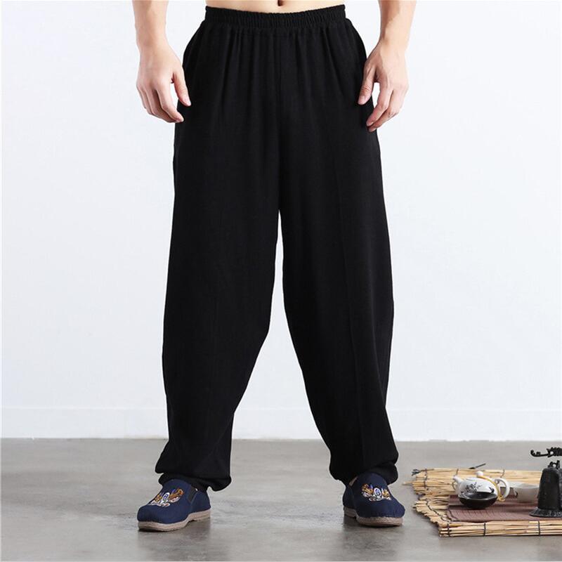 Brand New Autumn Linen Casual Pants Men Solid Wide Leg Pants Plus Size Summer Linen Trousers M-5XL 6XL Black Khaki Blue Red