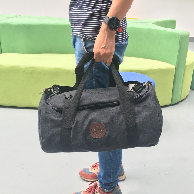 TEMENA Large Capacity Canvas Cylindrical Travel Bag Brand Mulifunctional Duffle Shoulder Travel Bag Men Women faux fur duffle shoulder bag