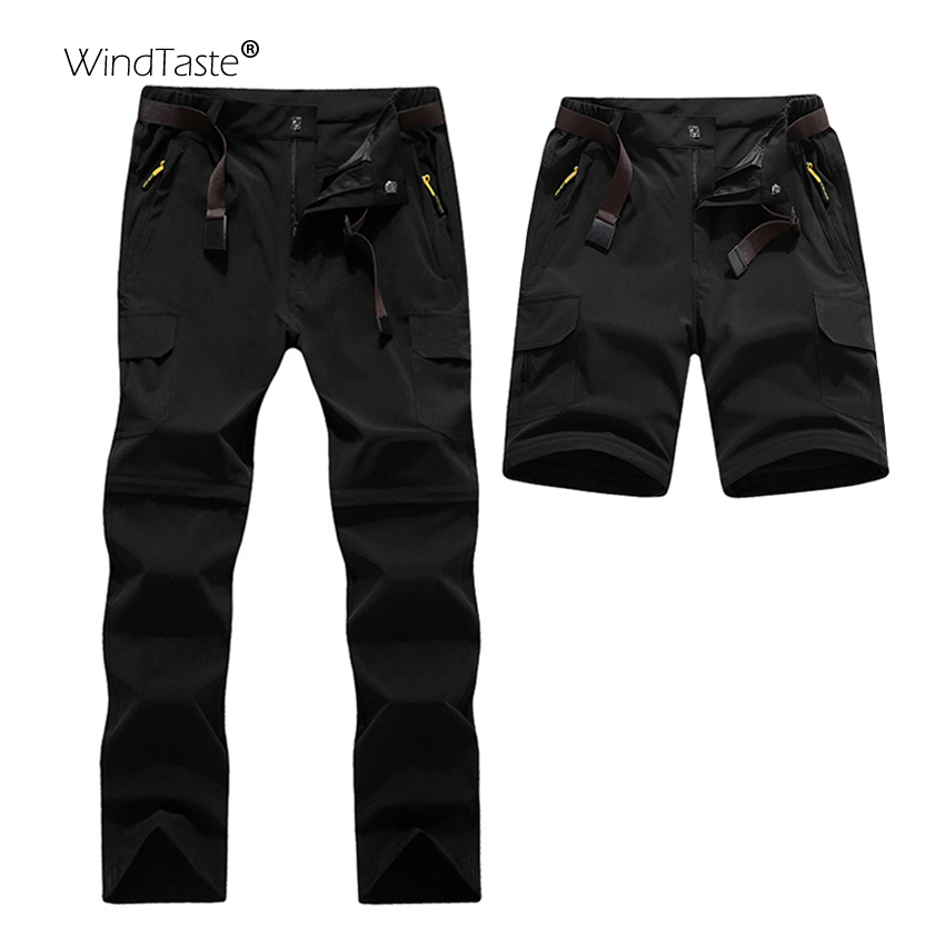 WindTaste <font><b>6XL</b></font> <font><b>Men's</b></font> Summer Outdoor Camping Pants Removable Shorts Hiking Trekking Fishing Waterproof Sports Trousers Male KA009 image