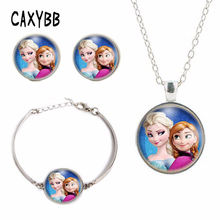 Anna Elsa girls crystal film pendant Bracelet summer Jewelry necklace style 2016 Best Selling FREE DELIVERY