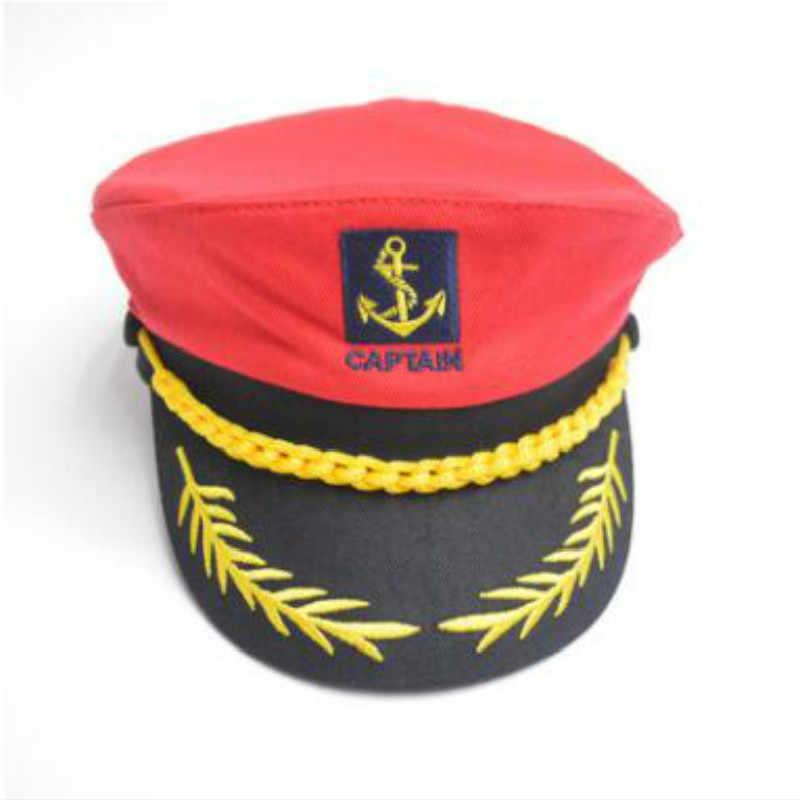 d72b3e20245a Negro Blanco rojo bordado algodón ajustable gorra militar vendimia  Parenting sombrero de marinero retro plana armada capitán hat Bonnet gorras