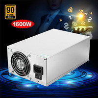 1600w 90Plus PC Eth Miner Power Supply 6PIN 12V 133A BTC Power Supply Fan Set For