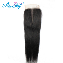 [Ali Sky]4*4 Middle/Free/Three Part Straight Brazilian Lace Closure Non remy 100% human hair Natural black 10″-22″ Pre Plucked