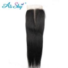 """[Али небо] 4*4 средняя часть прямо бразильский Синтетическое закрытие шнурка волос nonremy 100% Необработанные человеческих волос натуральный черный 10″ -22 """"дюймовый"""