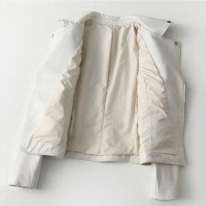 Image 3 - 女性白本物の革のジャケット長袖スリムジッパー本革コートレディースストリートシープスキンカジュアル原宿服