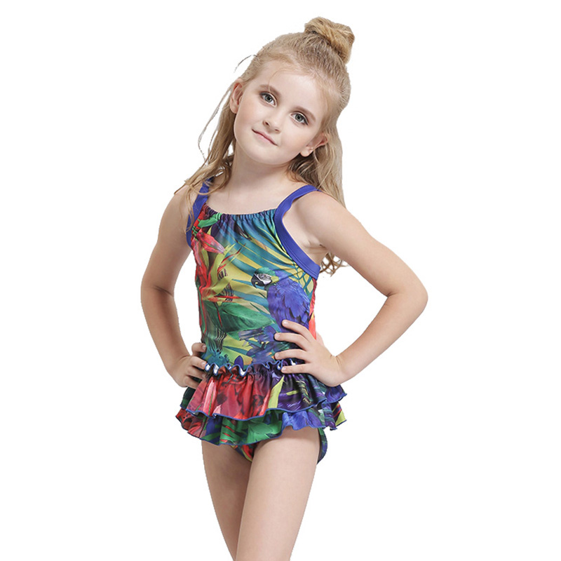 New High Quality Children Girls SwimSuit Printed Kids Cute Swimwear Sports Bathing suit Girl Swim Skirt Lovely Bodysuit 2017 2016new style girls printed children kids swimwear girlsbikini swimsuit skirt hat bikinis set