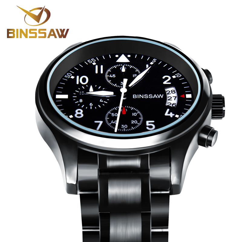 BINSSAW Brand New Men Luxury Quartz Watch Rostfritt Stål Mode Läder Vattentät Luminous Sport Klockor Relogio Masculino