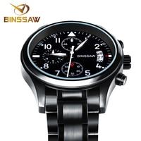 BINSSAW Authentic Original Brand Men S Luxury Quartz Sapphire Stainless Steel Fashion Leather Waterproof Luminous Sports