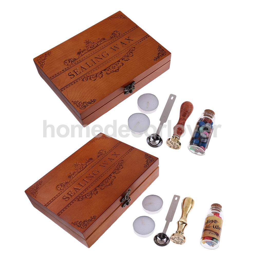 Retro Wax Seal Set Kit Sealing Wax Sticks Beads+Wax Seal Stamp+Spoon+Candles For Wedding Invitation Letter Card Stamp