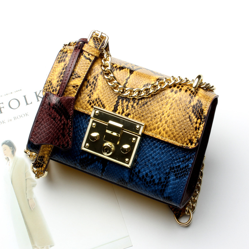 Color Blocking Serpentine Genuine Leather Women Chain Bag for Female Embossed Co