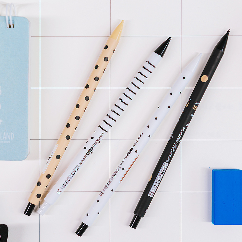 0 5mm Cute Black White Mechanical Pencil Kawaii Dot Stripe Automatic Pencils for Student Writing Stationery Office School Supply in Mechanical Pencils from Office School Supplies