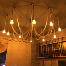 Retro Edison Bulb Light Hemp Rope Chandelier Vintage Loft Adjustable DIY E27 Spider Lustre cafe living room bar Fixture Light(China)