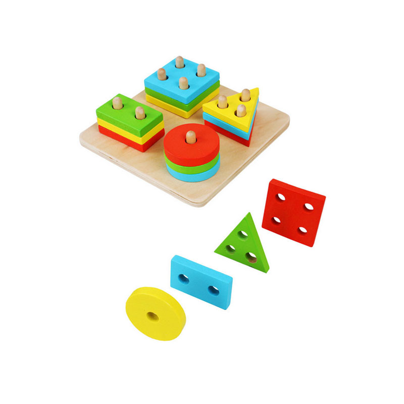 Wooden Toys Children Wooden Geometry Shape Stacking Colorful Blocks Learning Educational Toys For Baby Kids Children multifunctional musical toys colorful baby fun house electronic geometric blocks sorting learning educational toys gifts nobox