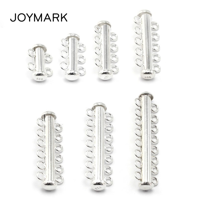 2 3 4 5 6 7 8 Multi Strand Sterling Silver Slide Lock Clasps For Pearl
