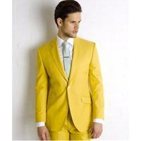 Yellow Wedding Suits For Men Shawl Lapel Groomsmen Tuxedos Mens Suits Slim Fit Groomsmen Suit (Jacket+Pants)