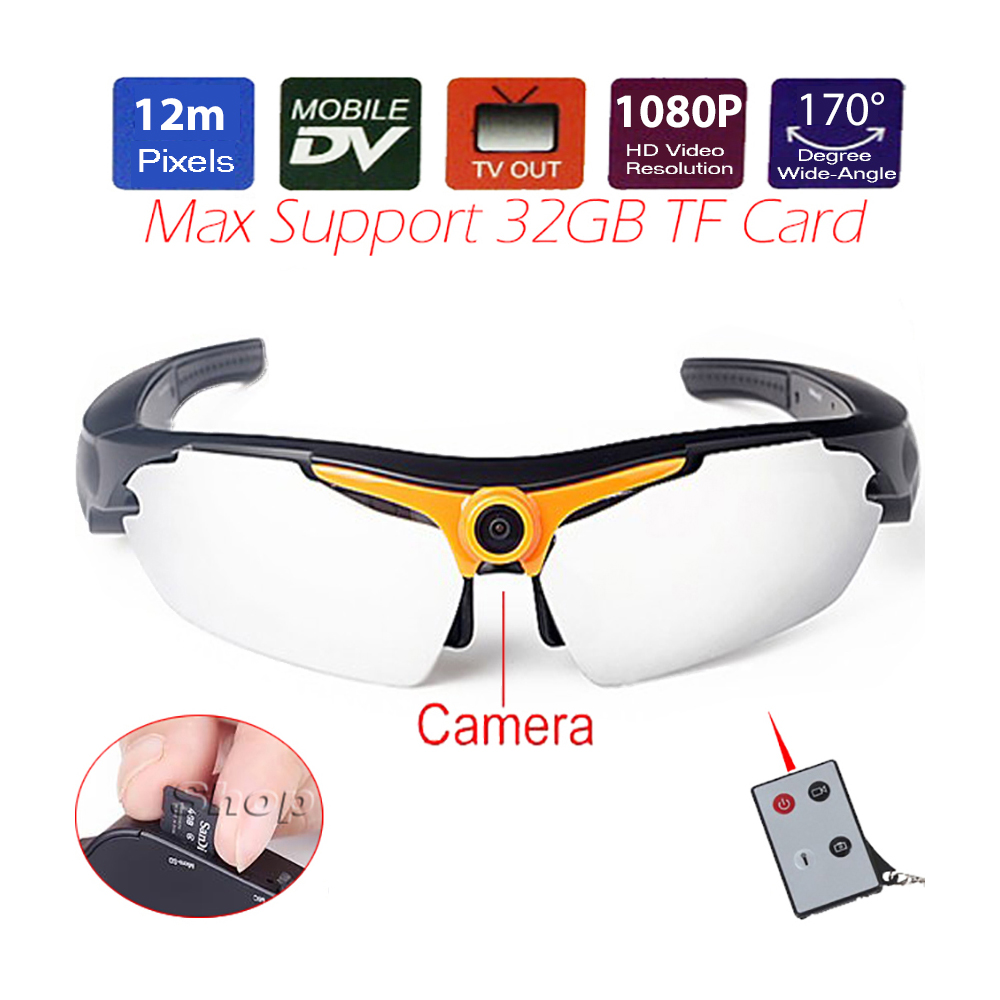 12MP CMOS Sports Sunglasses Mini DV Sunglasses Motion Camera 1080P HD Digital Video Recorder Photo DVR TF USB TV SKiing Glasses цена