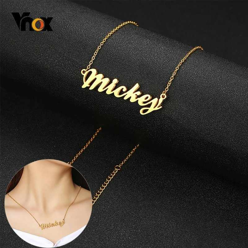 Vnox Customized Name Choker Necklaces for Women Stainless Steel Personalized Letter Pendant Special Gifts for Her