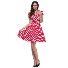 2016 Summer Style 50s Vintage Retro Rockabilly Dresses Swing Womens Casual Party Picnic polka dot Plus Size 60s clothing 6089