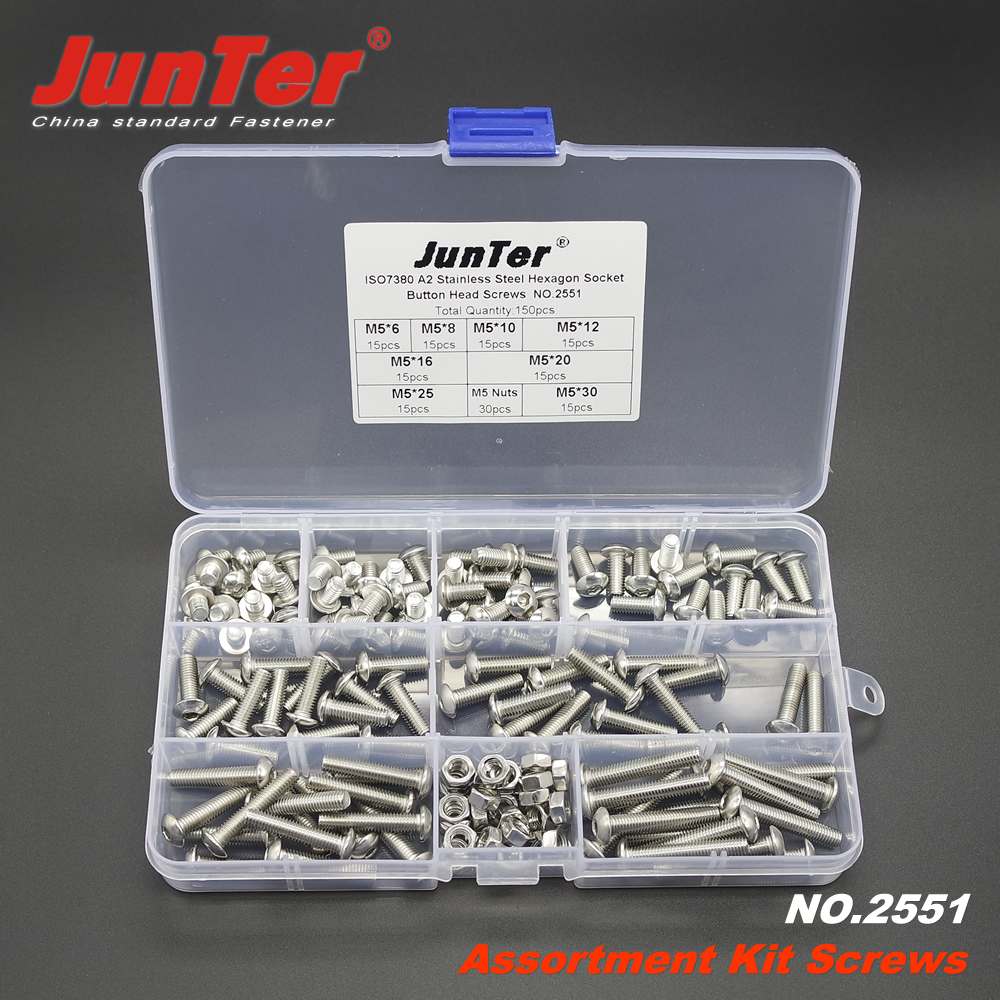 150pcs M5 Stainless Steel Flat Button Hex Socket Head Bolts Screws Nuts Kit