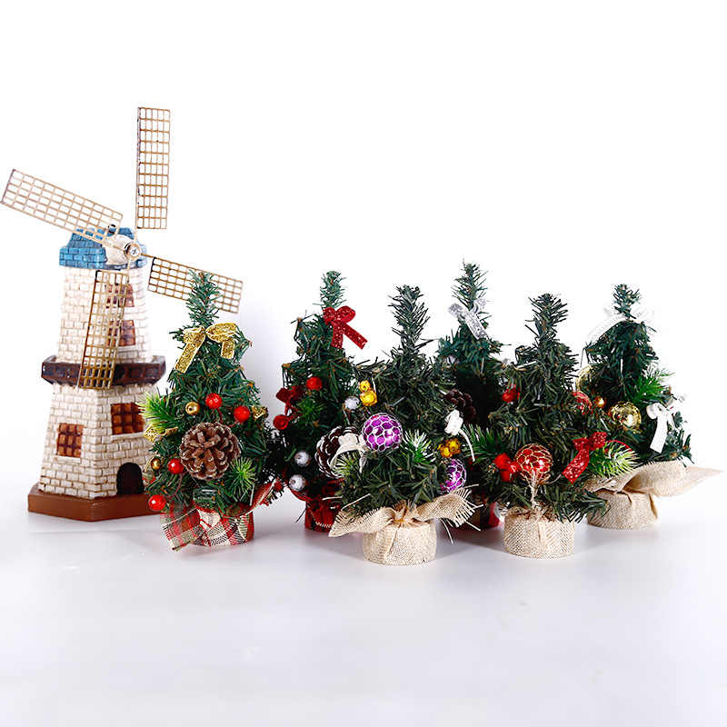 Small Diy Christmas Tree Fake Pine Tree Mini Sisal Bottle Brush Christmas Tree Santa Snow Frost Village House