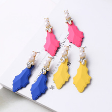 Stud-Earring Jewelry-Accessory Acrylic Women Yellow/blue for New Wholesale Date Gift
