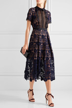 New Women Floral Lace Runway Dress Elegant Party Ladies Long Clothing