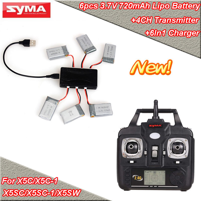 ФОТО Free Shipping!6x 720mAh Battery+6in1 Charger+Transmitter Remote Control For SYMA X5C X5SW X5SC