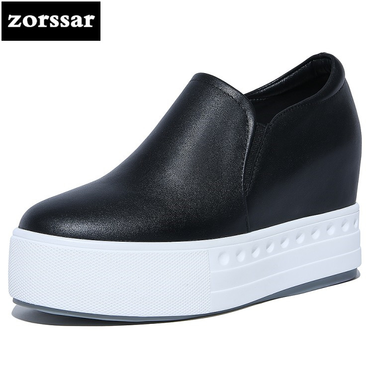{Zorssar} 2018 New Genuine Leather womens shoes Casual Slip-on Wedges height increasing High heels pumps women Platform shoes 2017 new women s genuine leather pumps female casual shoes sexy lady medium heels fashion high wedges platform flower slip on