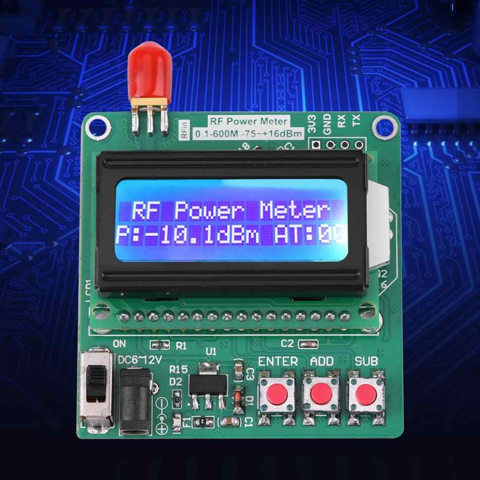 Accurate Power Meter Digital LCD RF Power Meter -75~16 dBm 1-600MHz Radio  Frequency Attenuation Value AT attenuation dB Module