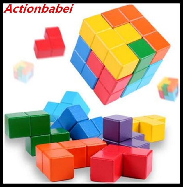 Actionbabei New Mini Wooden Maze Cube 7 Piece 3D Puzzle ...