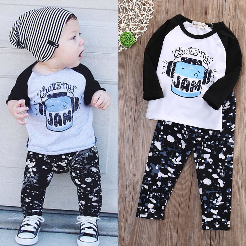 Baby Boy Winter Warm Clothes Set Newborn Toddler Infant Kids Baby Boy Autumn Clothes T-shirt Tops+Pants Outfits Set 2PCS infant baby boy girl 2pcs clothes set kids short sleeve you serious clark letters romper tops car print pants 2pcs outfit set