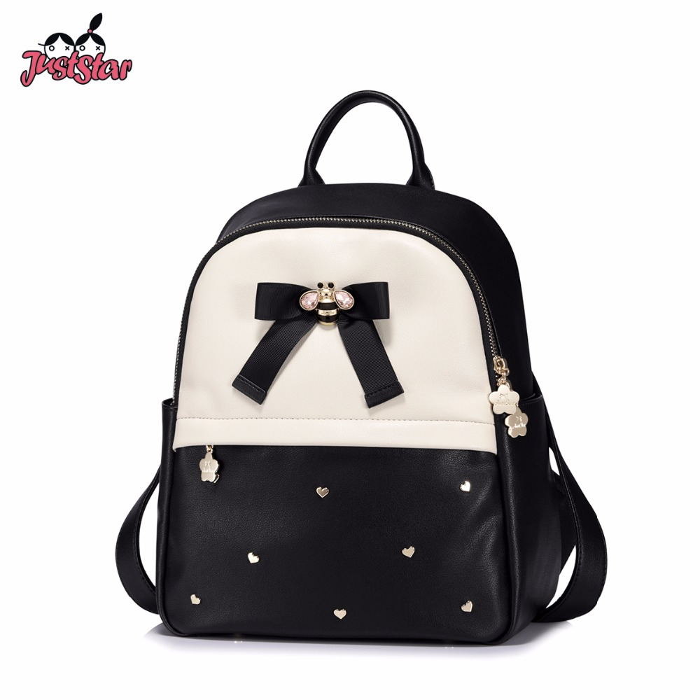JUST STAR Women's PU Leather Backpack Female Fashion Bow Panelled Double Shoulder Bags Ladies Love Rivets Travel Rucksack