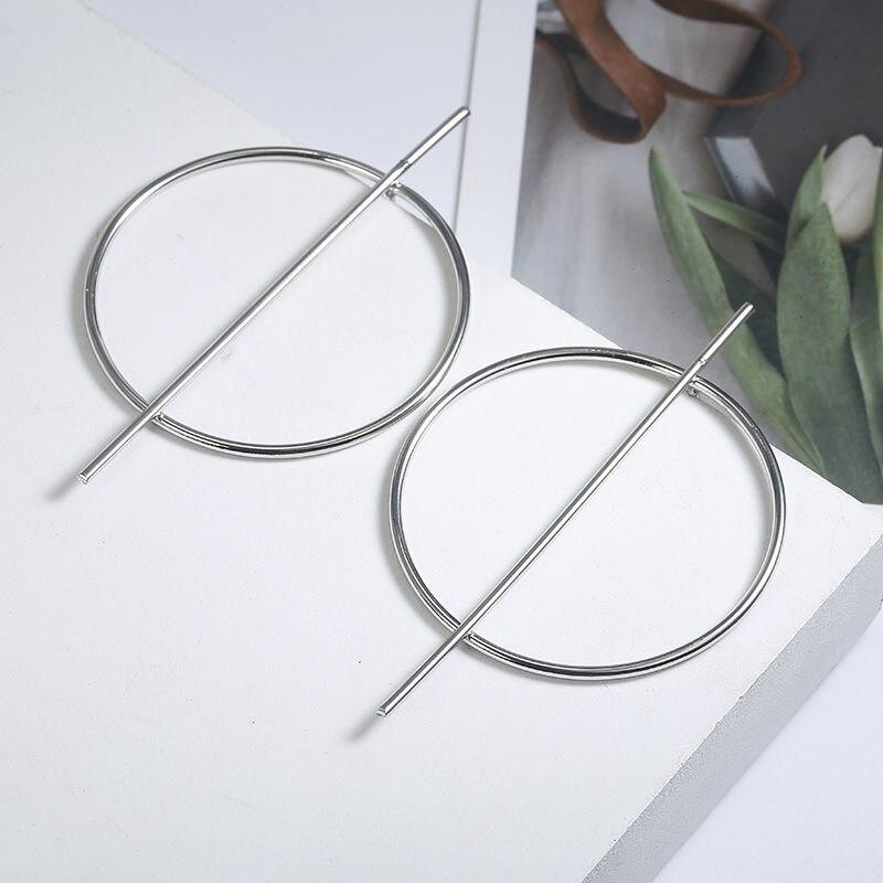 Простые модные геометрические большие круглые серьги золотого цвета с серебряным покрытием для женщин, модные большие полые висячие серьги, ювелирные изделия - Окраска металла: ez17yin