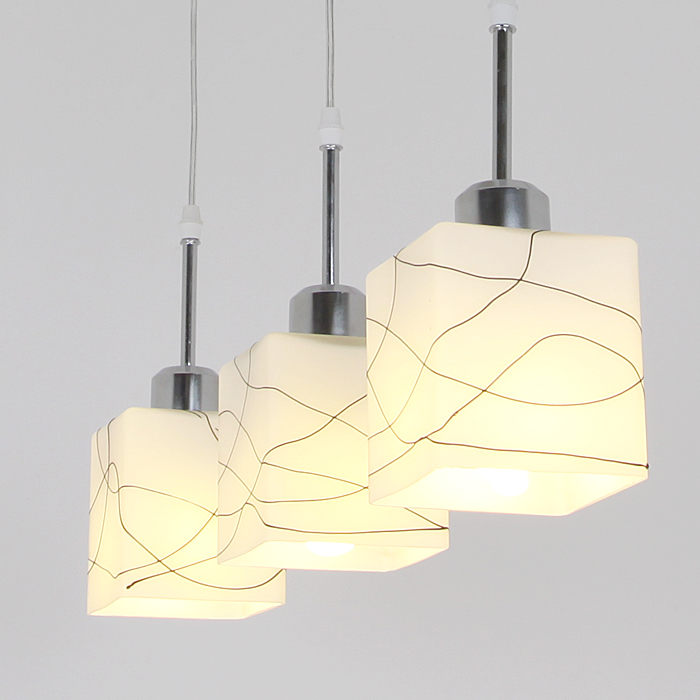 Glass Square Cube Dining Room Pendant Light Modern Simple