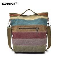 Excelsior бренд Модные женские туфли сумка высокого качества Лоскутная сплит холст сумочку дамы сумка для работы в офисе