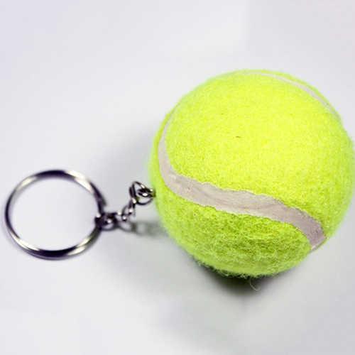Moda Artificial 3D Pingentes Chaveiro Chaveiro Esportes Bola de Tênis Chaveiro para As Mulheres Homens Jóias Presente de Natal Bluelans