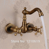 Newly US Free Shipping Wholesale And Retail Antique Brass Kitchen Basin Sink Faucet Vessel Tap Mixer