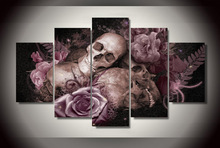 2017 New Direct Selling No Oil Oil Painting Fallout Hd Skull And Roses Painting Room Decor Print Picture Canvas 5 Panels Wall