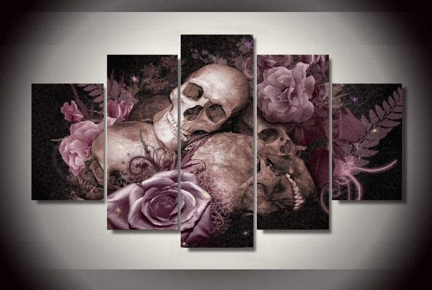 2017 Nouvelle Vente Directe Pas D'huile Peinture À L'huile Fallout Hd Crâne et Roses Peinture Chambre Décor Imprimer Photo Toile 5 Panneaux Mur