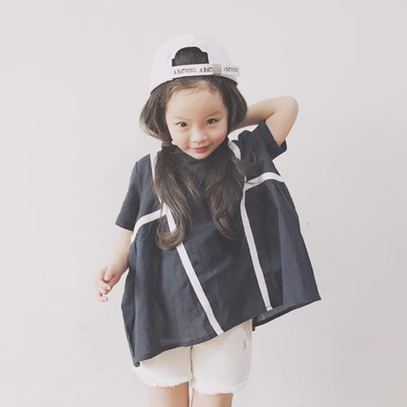 Maggies Walker Children Summer Clothes Girls Wear Cotton Turtle Neck Short Sleeved Loose Cool Solid Stripe Casual Tshirt