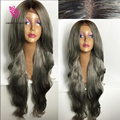 Ombre Grey Virgin Brazilian Human Hair Wig 2Tone color  Glueless Full Lace Human Hair Wigs With Dark Roots Gray Color Lace Wig