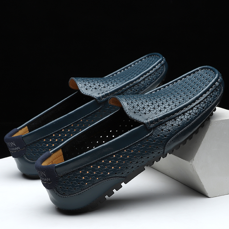 HTB1ewQKM9zqK1RjSZFjq6zlCFXaA Summer Men Shoes Casual Luxury Brand Genuine Leather Mens Loafers Moccasins Italian Breathable Slip on Boat Shoes Black JKPUDUN